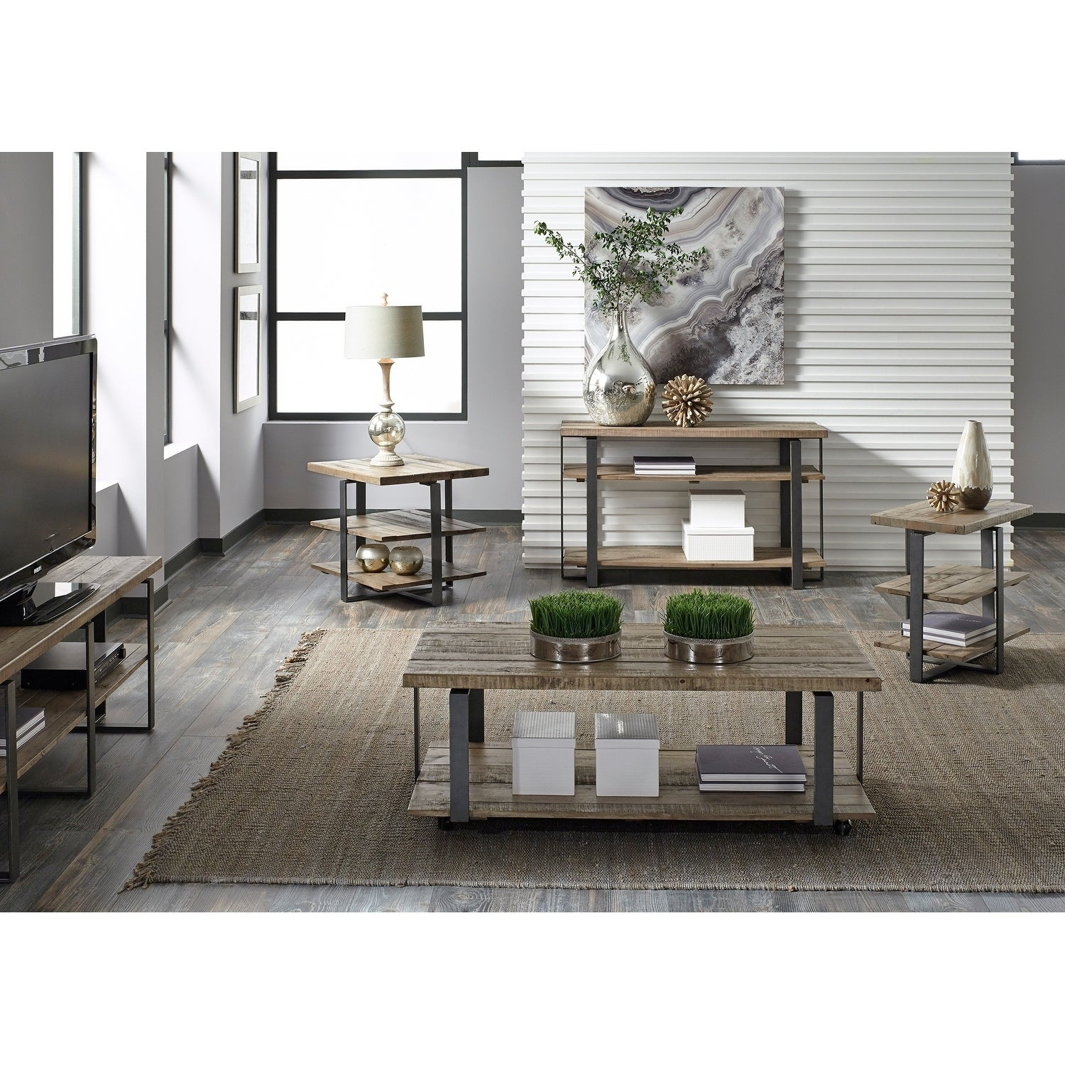 Liberty Baja Weathered Planked Top and Pewter End Table (...