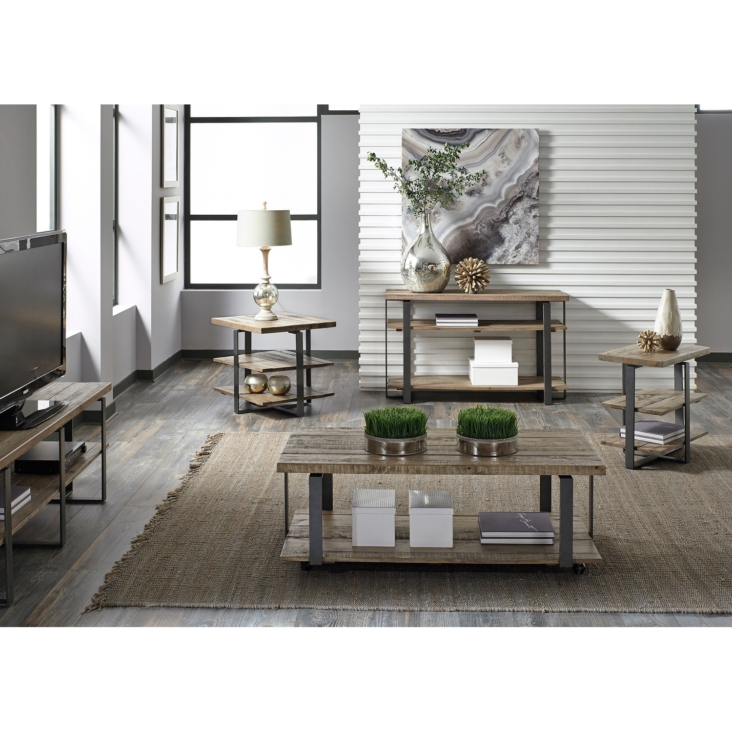 Liberty Baja Weathered Planked Top and Pewter Chair Side ...
