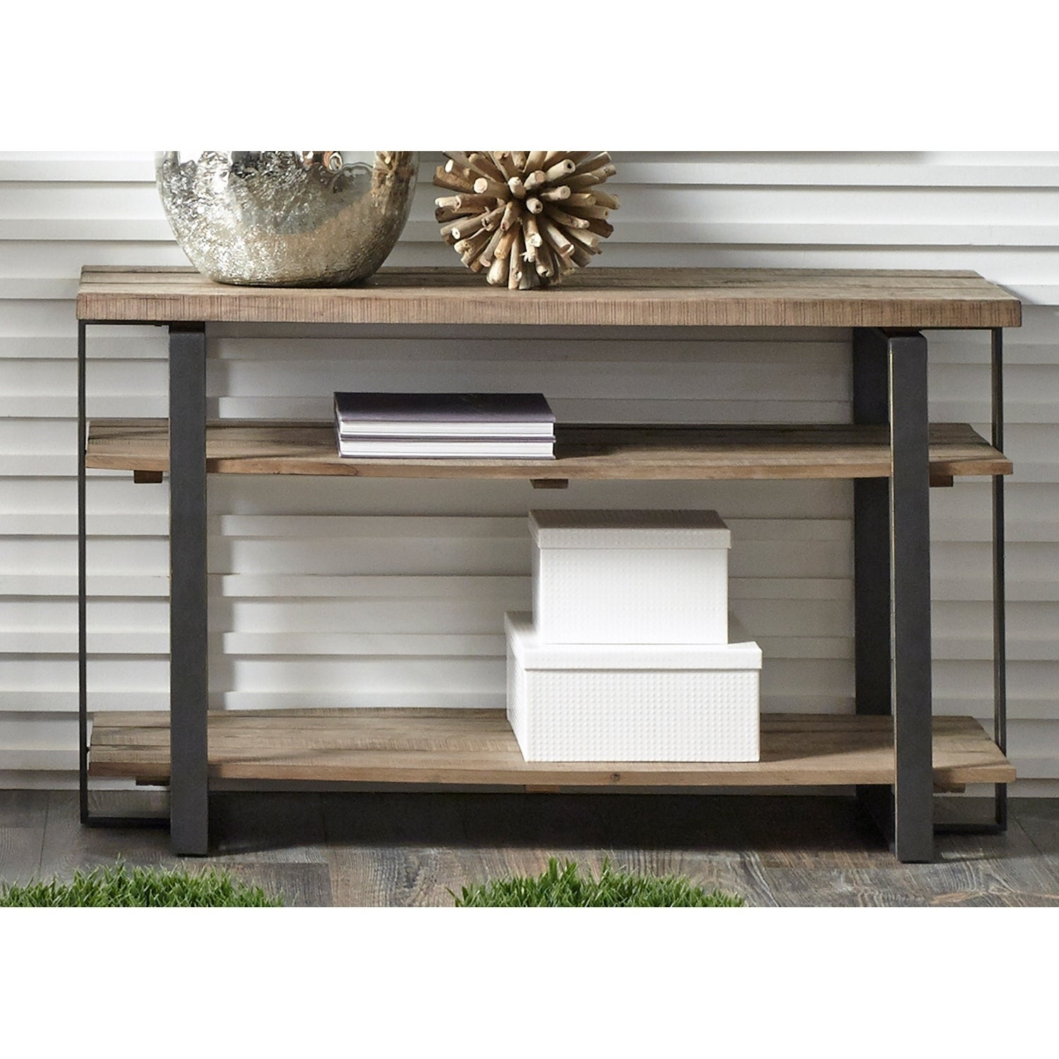 Liberty Baja Weathered Planked Top and Pewter Sofa Table ...