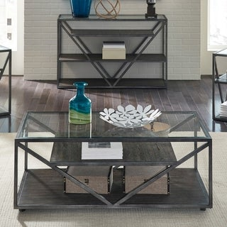 Arista Cobblestone Brown Castered Cocktail Table