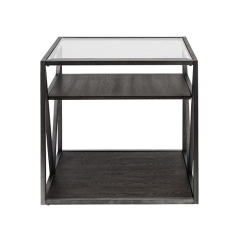 Arista Cobblestone Brown and Grey Dusty Wax End Table