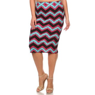 Women's Multicolor Polyester and Spandex Plus-size Chevron Skirt