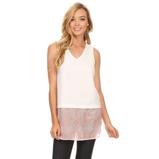 Women's Polyester Tank Top with Lace Chiffon Bottom