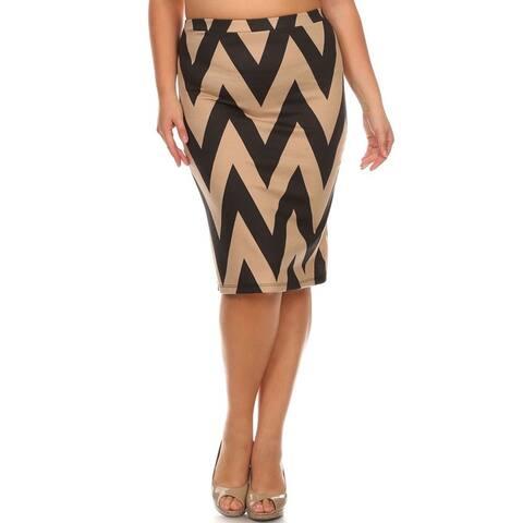 Women's Polyester Plus-size Chevron-striped Skirt
