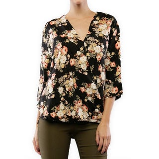 Women's Floral Rayon Fold Over Top