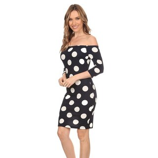 Women's Polyester and Spandex Polka Dot Body-con Dress