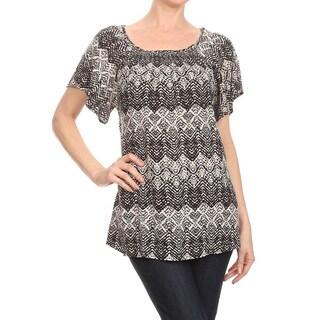 Women's Rayon Pattern Flutter Sleeve Top