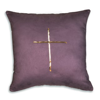 Passion Suede Aubergine/ Gold Polyester Cross Fiber Throw Pillow