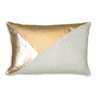 Maimie Gold and Silver Fiber Throw Pillow