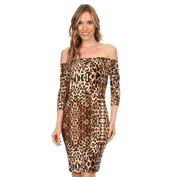 Women's Brown Polyester/Spandex Leopard Print Body-con Dress