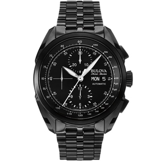 Bulova Mens 65C116 Stainless Steel Black Accu Swiss Analog Display Mechanical Hand Wind Watch