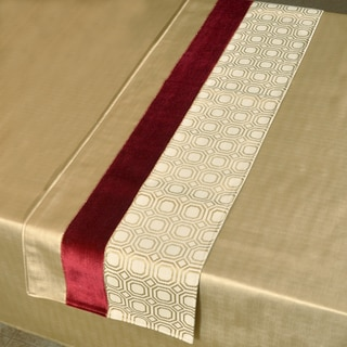 Milo Red/Gold/Off-white Polyester Hemmed Table Runner