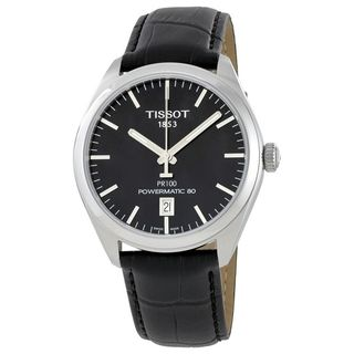 Tissot Men's T1014071605100 'PR 100' Automatic Black Leather Watch