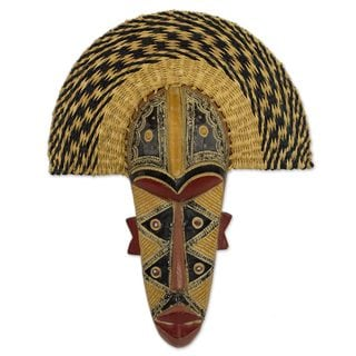 Prosper African Wood and Raffia Mask (West Africa)