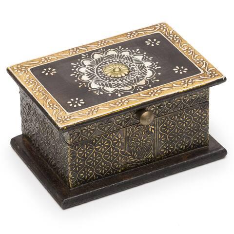 Handmade Antiqued Metal Henna Box (India)