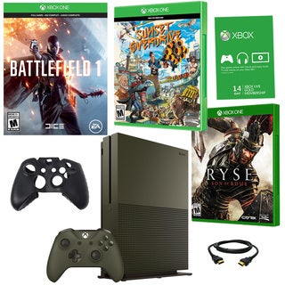 Xbox One S 1TB Battlefield 1 Green Bundle With Ryse and Accessories