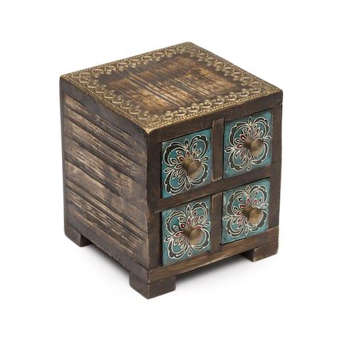 Handmade Antiqued Metal Compartment Box (India)