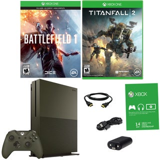 Xbox One S 1TB Battlefield 1 Green Bundle With Titanfall 2 and Accessories