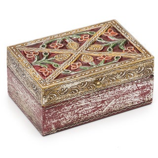Antiqued Metal Red Bloom Box
