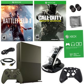 Xbox One S 1TB Battlefield 1 Green Bundle With COD: Infinite Warfare and Accessories