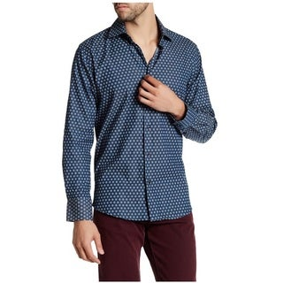 Suslo Couture Men's Nate Navy Cotton Button-down Shirt