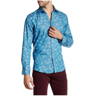 Suslo Couture Men's Blue Cotton Denim Paisley Button-down Shirt