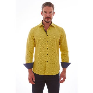 Suslo Couture Men's Dotted Yellow/Blue Cotton Button-down Shirt