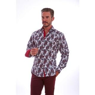 Suslo Couture Men's Frankel Burgundy Cotton Button Down Shirt