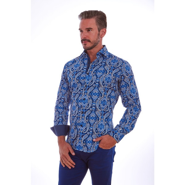 Shop Suslo Couture Men s Paisley Blue Cotton Button-down Shirt - Free  Shipping On Orders Over  45 - Overstock - 13150424 29d6a6b64