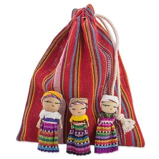 Set of 12 The Worry Doll Gang Cotton Figurines (Central America)