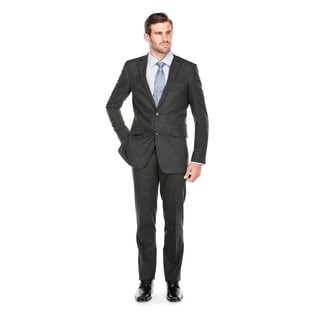 Verno Men's Dark Grey Polyester and Viscose Slim-fit Italian-style 2-piece Suit