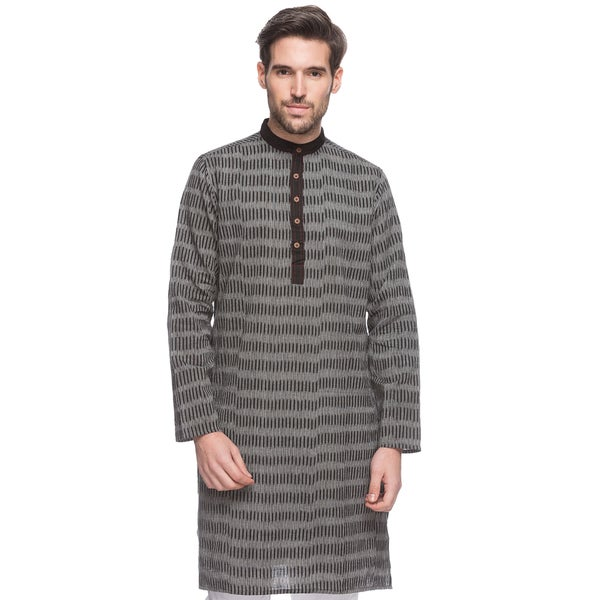 869ef43e253 Handmade In-Sattva Men's Shatranj Indian Textured Stripe Banded Collar  Long