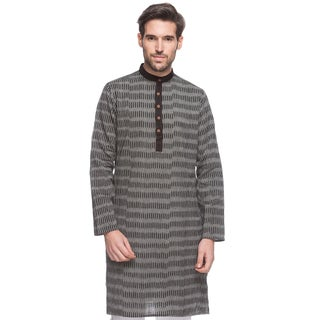 In-Sattva Men's Shatranj Indian Textured Stripe Banded Collar Long Kurta Tunic (India)