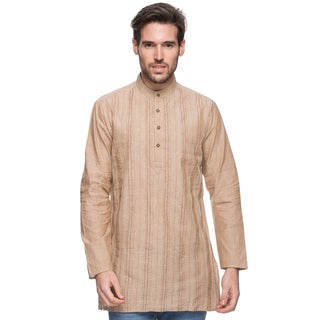 Handmade In-Sattva Men's Shatranj Indian Beige Banded Collar Mid-length Kurta Tunic (India)