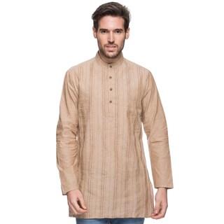 Handmade In-Sattva Men's Shatranj Indian Beige Banded Collar Mid-length Kurta Tunic (India) (Option: Beige)