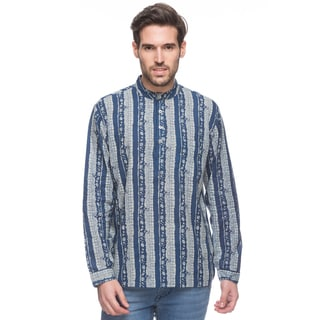 In-Sattva Shatranj Men's Indian Short Kurta Tunic Banded Collar Printed Shirt