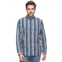 Handmade In-Sattva Shatranj Men's Indian Short Kurta Tunic Banded Collar Printed Shirt (India)