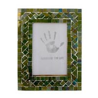 Magic Emerald Glass Mosaic 4x6 Photo Frame (India)
