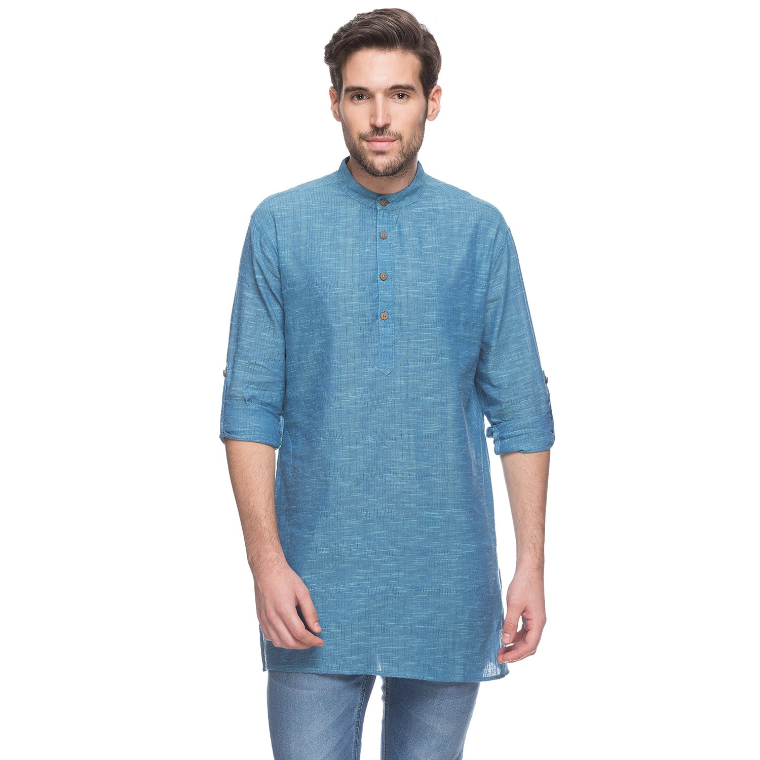 Handmade In-Sattva Men's Shatranj Indian Blue Textured Ba...