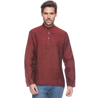 In-Sattva Men's Shatranj Textured Pin-tuck Short Kurta Tunic (India)