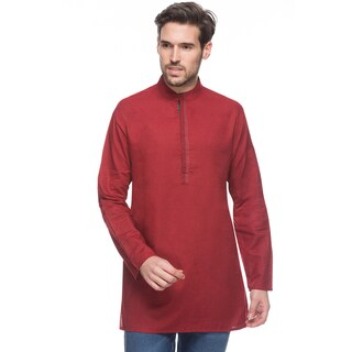 Handmade In-Sattva Shatranj Men's Textured Maroon Mid-length Banded Collar Indian Kurta Tunic (India)