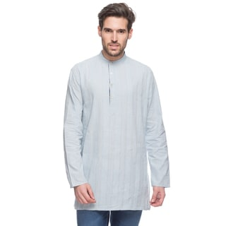 In-Sattva Men's Shatranj Indian Light Blue Pin-tucked Banded Collar Mid-length Kurta Tunic (India)