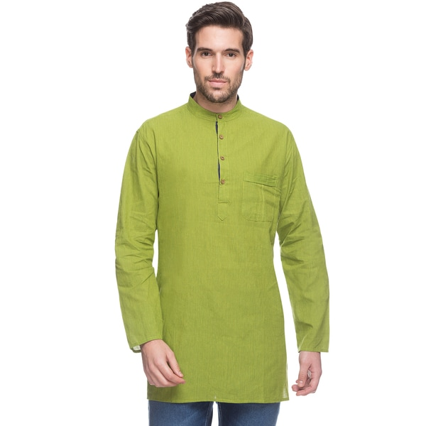 Handmade In-Sattva Mens Shatranj Indian Green Fine Stripe Banded Collar Mid-length Kurta Tunic (India)