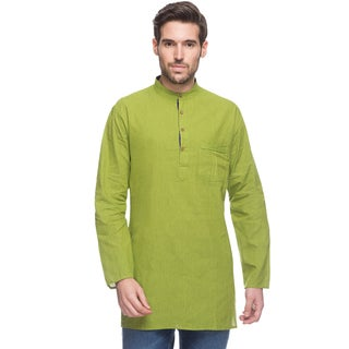 Handmade In-Sattva Men's Shatranj Indian Green Fine Stripe Banded Collar Mid-length Kurta Tunic (India) (3 options available)