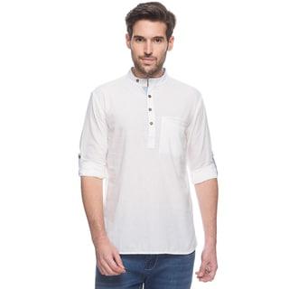 Handmade In-Sattva Men's Shatranj Indian White Textured Banded Collar Short Kurta Tunic (India)