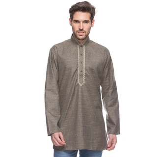 In-Sattva Men's Shatranj Indian Textured Grey Embroidered Mid-length Kurta Tunic (India)