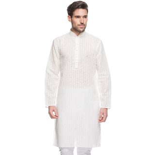 In-Sattva Men's Shatranj Indian White Embroidered Stripe Long Kurta Tunic (India)