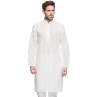 Handmade In-Sattva Men's Shatranj Indian White Embroidered Stripe Long Kurta Tunic (India)