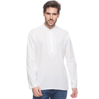 In-Sattva Men's Shatranj Indian White Textured Embroidered Placket Short Kurta Tunic Shirt (India)