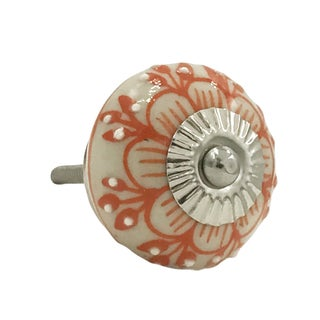 Orange/White Metal Zinnia Flower Raised Dots Knobs (Pack of 6)